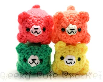 Neon Bear Yami Amigurumi Tiny Plush Toy Colorful Bright Cubs