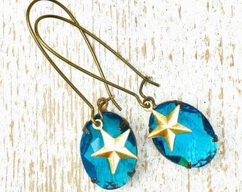 Blue Crystal Earrings Star Earrings Aqua crystal Something Blue Summer Boho Gift for Her Bridesmaid Gift Gold Star Jewelry Gift for Mom