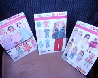 """Simplicity Large 18"""" Doll Clothes Pattern 1135, 1580, 2302 by Elaine Heigl Designer New  Uncut"""