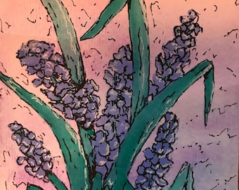 "Original Watercolor and Ink Painting on Paper ""Lilacs"""