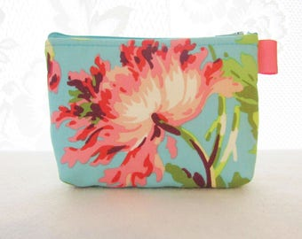 Cosmetic Bag Amy Butler Fabric Zipper Pouch Makeup Bag Bliss Bouquet Teal Cotton Zip Gadget Pouch Floral Turquoise Coral Pink Handmade MTO
