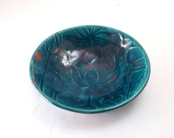 Lotus WATER LILY Bowl Handmade Ceramic Pottery