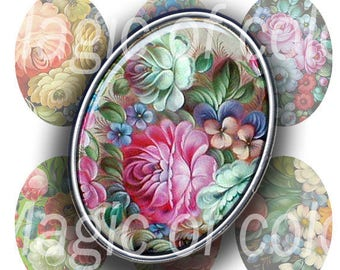 Vintage Russian Style Flowers - 90  18x25 mm Oval  JPG images - Digital  Collage Sheet