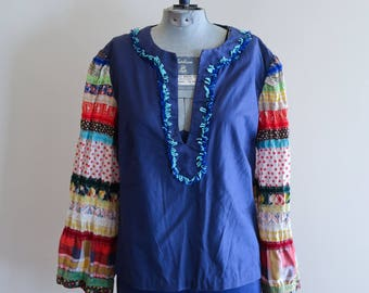 Handmade FESTIVAL 60s / 70s festival top blouse sz. Small / Medium