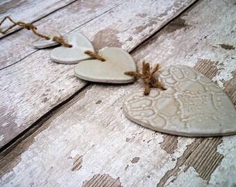 FREE SHIPPING- Handmade Loveheart Hanger, lovehearts, gift idea, pottery, one off