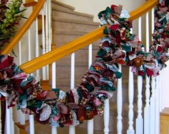 Christmas Garland with rustic jingle bells,Christmas decoration,Fabric garland,Christmas Party decoration,Holiday decoration