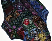 Moderate Hemp Core- Beauty and the Beast Stained Glass Reusable Cloth Maxi Pad- WindPro Fleece- 10 Inches (25.5 cm)