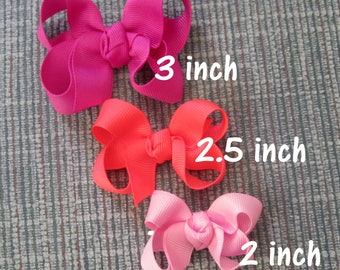 baby bows, small bows, clippie bows, Lot Set of hairbows, tiny bows, 6 Itty Bitty Bows, Twisted Bows, Baby Headband, Newborn Baby hairbows,