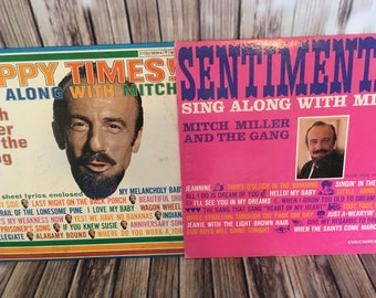 """Mitch Miller and The Gang 2 Vinyl Records ~ Happy Times and Sentimental ~ 12"""" 33 RPM Lps ~ Record Albums ~ TV Sing Along album ~ Vintage"""