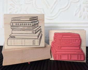 Stack of Books rubber stamp from oldislandstamps