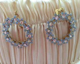 Sky Blue Vintage garland and Rhinestone earrings