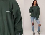 Champion Sweatshirt Crewneck Pullover Sports Jumper 90s Streetwear Shirt Green Slouch 1990s Vintage Plain Extra Large xl 2xl xxl