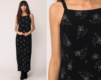 Sheath Dress 90s Maxi Floral Black Sundress LOW BACK Grunge Print Boho Bohemian Shift Sun Vintage Sleeveless Retro Small Medium