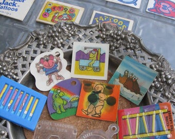 Cracker Jack Lot of 14 Includes 3D and Tattoos and Other Flat Prizes Vintage Fun For Play and Creation Please See Photos and Details