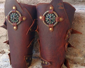 Primitive Oiled Brown Leather Peaked Bracers with Antiqued Brass and Black Moon inside Etched Ring
