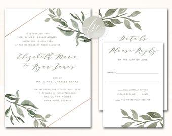 Printable Wedding Invitation, Wedding Invite, DIY Invitation Suite, Green, Olive, Sage, Leaves, Laurels, Geometric | DIGITAL PRINTABLE