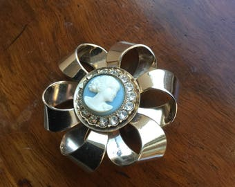 Vintage Ribbon Form Blue Cameo Fhinestone Pin 1960's