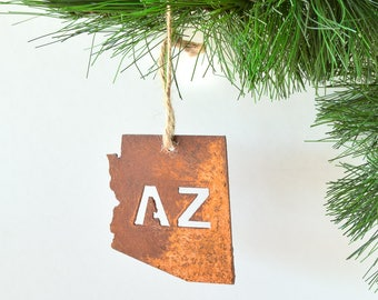 Rustic Arizona AZ State Metal Ornament / by WATTO Distinctive Metal Wear / Christmas Ornament / Gift for Arizona Lover /Rusty Metal Ornament
