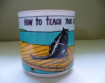 Funny Mug How to teach your cat to swim vintage coffee cup by K. Pope Recycled paper products