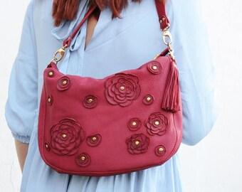 SALE Red leather bag womens purse, leather hobo bag, womens crossbody bag boho bag floral shoulder bag, large leather bag, gift for mom spri