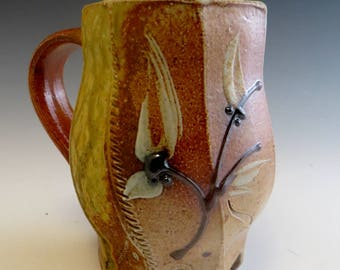 Salt Fired Faceted Footed Mug with Flowering Vine