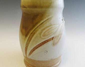 Salt Glazed White Honey Dragonfly Angel & Pond Mug