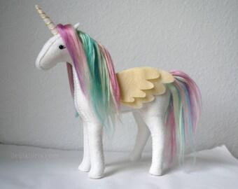 Handstitched Felt Stuffed Unicorn * Made To Order Rainbow Unicorn Plush *  Handmade Stuffed Animal. Unicorn Gift. Pegasus. Alicorn.
