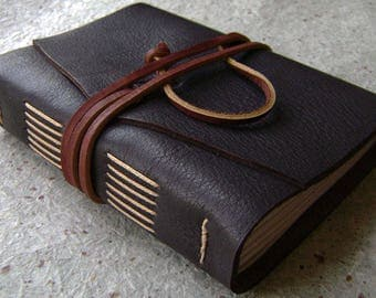 """Handmade rustic leather journal, 4"""" x 6"""", travel journal, leather sketchbook (2617)"""