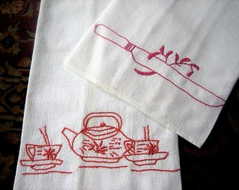 Towel set very vintage embroidered kitchen cloth washstand display pair Tea & Knife Flowers Retro Authentic Embroidery