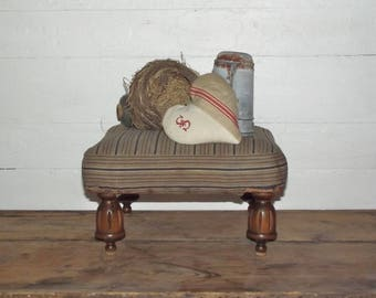 Vintage Stool Carved Wood Legs, Original Ticking Fabric, Petite Stool