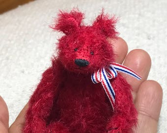 Miniature Hand Sewn 2-3/4in. RED Scruffy Mohair Teddy Bear