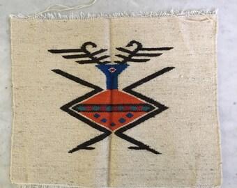 Vintage Ecuadorian Woven Textile Wall Hanging Colorful Wool Geometric Weaving SouthWestern