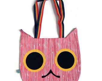 Cat Head Tote Bag - Coral Stripe with Yellow Applique Eyes