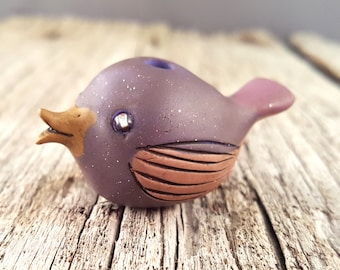 Bird Bead, Purple with Silver Eyes