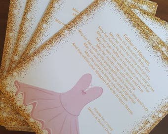 Prayer card, baby shower, baptism, christening, religious card, ballet, ballerina, glitter, cheap, gold and pink, daughter,baby announcement