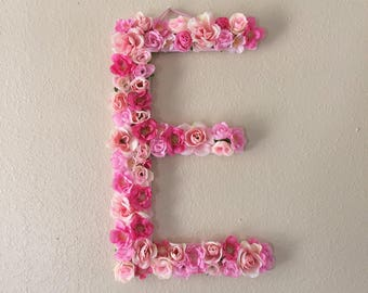 Extra Large Pink Flower Letter or Number Wall Hanging - Girly Floral Letters - Baby Nursery, Shower Gift - Boho Flowery Initial Girl Decor