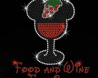 "SALE 8"" Minnie Epcot Food & Wine Festival iron on rhinestone transfer"