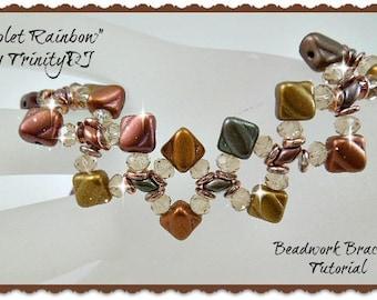 BP-PEY-150-2017-062 - Violet Rainbow - Bracelet Tutorial, 2 hole bead jewelry, beadweaving pattern, beaded bracelet, beadwork
