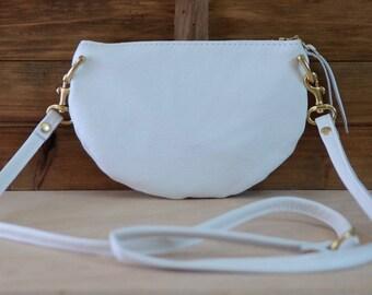 The Mini: White leather crossbody bag