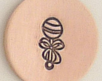 Baby Rattle Metal Design Stamp 4.5 mm x 2.5mm  - Metal Jewelry Stamping Tool