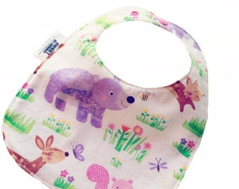 On Sale Girly Woodland FRIENDS- Infant or Toddler Bib - ADJUSTABLE snaps - REVERSIBLE plus burp cloth