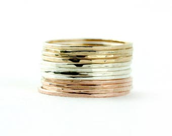 Set of 12 Tri-Color ultra Skinny Stacking Rings - hammered stacking set, Gold, silver, and Rose Gold stacking, 3 Color Set, trio color rings