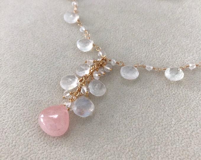 Morganite Pink Aquamarine Pendant Necklace in Gold fill and Rainbow Moonstone, Crystal Quartz