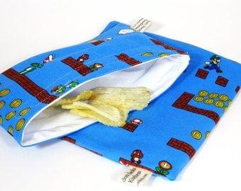 Super Mario Reusable Sandwich and Snack Bag Set