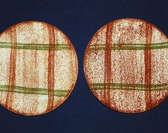 Blue Ridge Southern Pottery 2 Dinner Plates in the Rustic Plaid Pattern