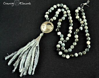 Natural Cat's Eye Moon Mantra Necklace ~ Lunation Series