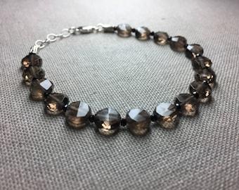 Smoky Quartz and Black Spinel Bracelet in Sterling Silver