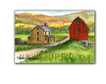Yellow House Red  Barn Artwork LLMartin Original Watercolor Painting Virginia Country  Free Shipping USA