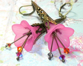 Lucite Trumpet Flower Earrings - Hand Victorian pink Lily - Brass Filigree Cone - Swarovski crystals