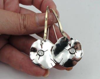 Long CZ Silver Earrings, 925 Sterling Silver &  9K Yellow Gold Zircon Earrings, round earrings, Wedding Earrings, Gift, Birthday (ms 942)